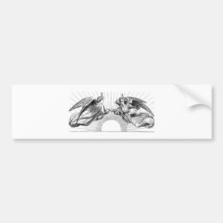 Angels over depiction of sun. bumper sticker