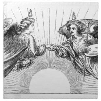 Angels over depiction of sun. napkin