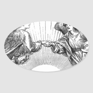 Angels over depiction of sun. oval sticker