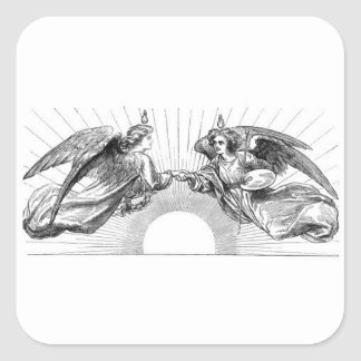Angels over depiction of sun. square sticker