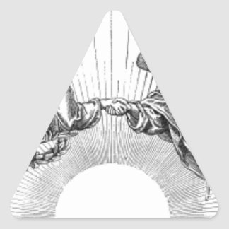 Angels over depiction of sun. triangle sticker