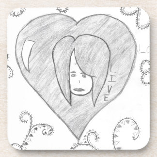 Angels Peace Love Live Drawing Beverage Coasters