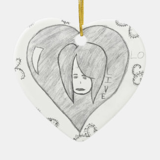 Angels Peace Love Live Drawing Ceramic Heart Ornament