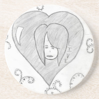 Angels Peace Love Live Drawing Drink Coasters