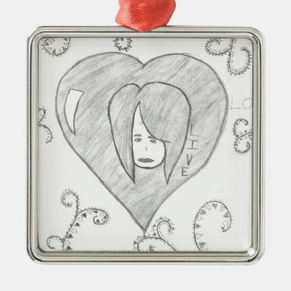 Angels Peace Love Live Drawing Silver-Colored Square Ornament
