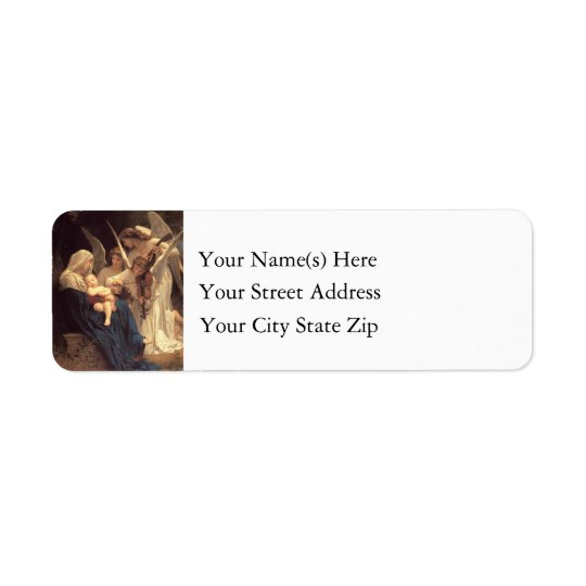 Angels Serenade Mary and Baby Jesus Christmas Return Address Label