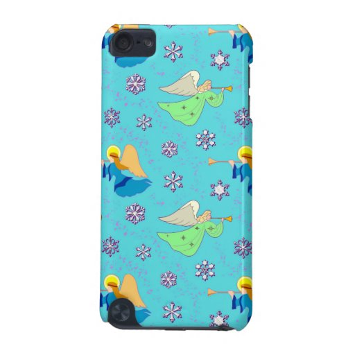 Angels, Snowflakes and Trumpets in Blue iPod Touch 5G Covers