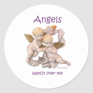 Angels Watch Over Me Classic Round Sticker