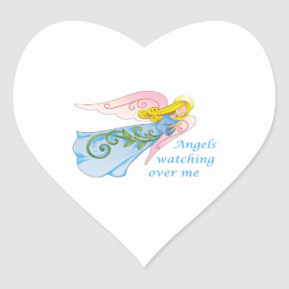 ANGELS WATCHING OVER ME HEART STICKER