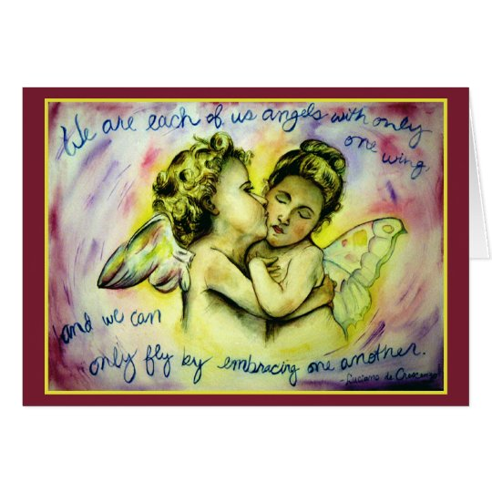 Angels with One Wing (Red) Greeting Card