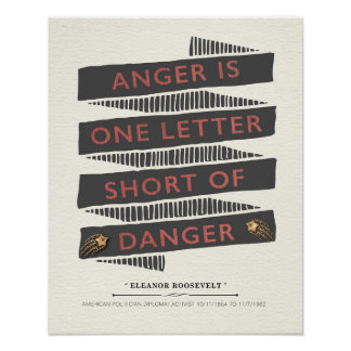 Anger Quote by Eleanor Roosevelt Poster