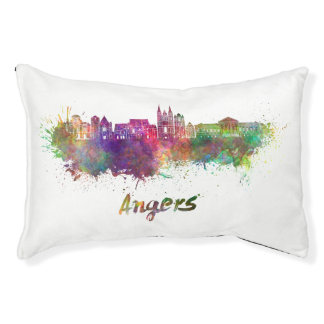 Angers skyline in watercolor pet bed