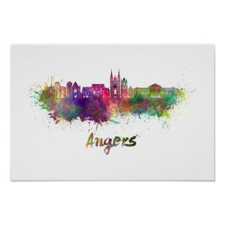 Angers skyline in watercolor poster
