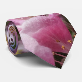 Angery Honey Bee On Pink Crabapple blossom Tie