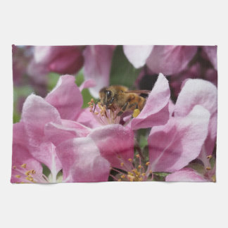 Angery Honey Bee On Pink Crabapple blossom Towels