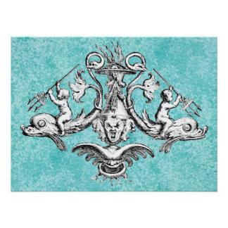 Anges montant des dauphins avec des tridents perfect poster