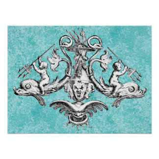 Anges montant des dauphins avec des tridents poster