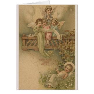Anges victoriens et carte de Noël de Jésus de bébé