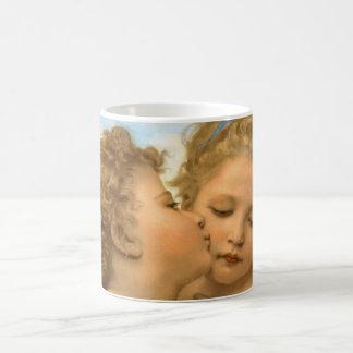 Anges victoriens vintages, premier baiser par mug blanc