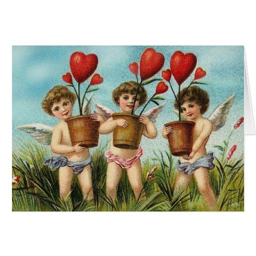 Anges vintages et fleurs Valentine de coeur Carte De Vœux