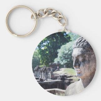 anghor wat budha, Cambodia Basic Round Button Keychain