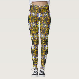 Angie's Gold Helenium Purple Asters Leggings