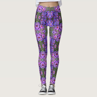 Angie's Purple New England Asters Leggings