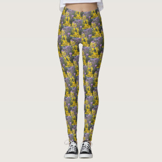 Angie's Yellow and Purple Fall Blooms 2 Leggings
