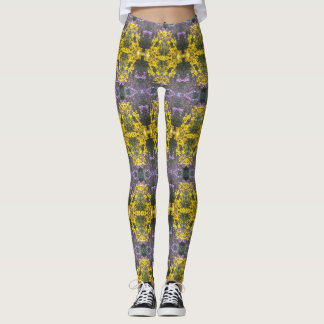 Angie's Yellow and Purple Fall Blooms Leggings