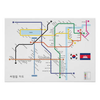 Angkor Temple Map in Korean Subway Style Poster