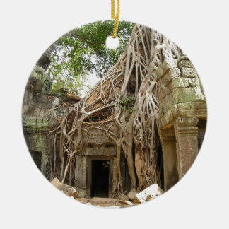 Angkor Wat Cambodia Round Ceramic Ornament