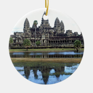 Angkor Wat Cambodia Temple Travel Photography Round Ceramic Ornament