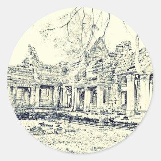 Angkor Wat Sketch Round Sticker