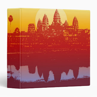 Angkor Wat Sunset Modern Silhouette Art Sunrise 3 Ring Binders