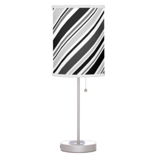 Angled Grey, Black, White Stripes Desk Lamps