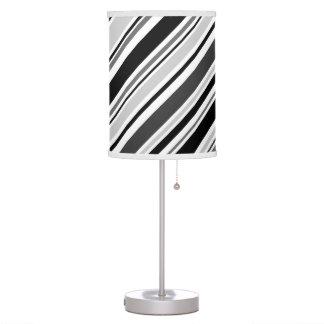 Angled Grey, Black, White Stripes Table Lamp