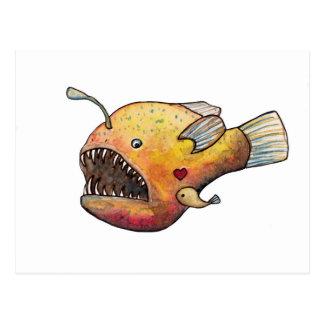 Angler fish love postcard