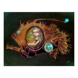 Anglerfish Submarine steampunk lowbrow Art Print