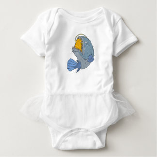 Anglerfish Swooping up Lure Drawing Baby Bodysuit