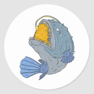 Anglerfish Swooping up Lure Drawing Classic Round Sticker