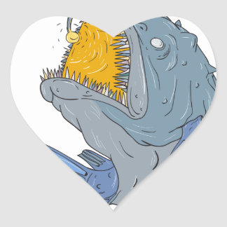 Anglerfish Swooping up Lure Drawing Heart Sticker