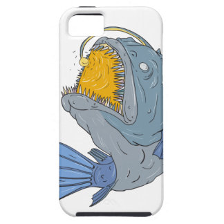Anglerfish Swooping up Lure Drawing iPhone 5 Covers