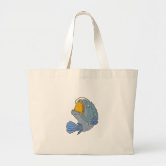 Anglerfish Swooping up Lure Drawing Large Tote Bag