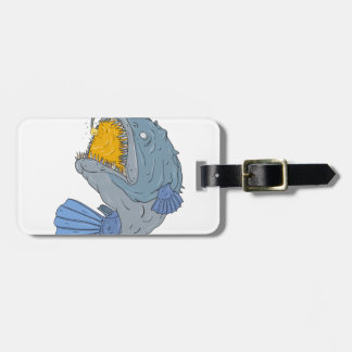 Anglerfish Swooping up Lure Drawing Luggage Tag