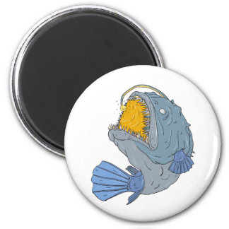 Anglerfish Swooping up Lure Drawing Magnet