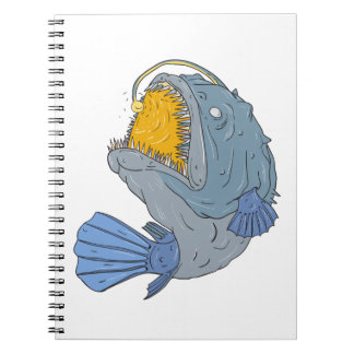 Anglerfish Swooping up Lure Drawing Notebooks