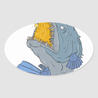 Anglerfish Swooping up Lure Drawing Oval Sticker