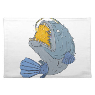 Anglerfish Swooping up Lure Drawing Placemats