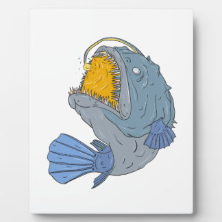 Anglerfish Swooping up Lure Drawing Plaque
