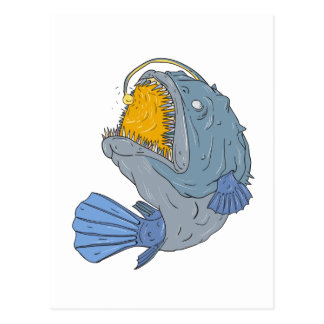 Anglerfish Swooping up Lure Drawing Postcard